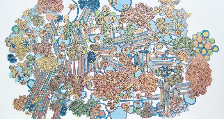 """Rebecca Jacoby 'Alloys', Ballpoint pen, ink and marker on paper, 6"""" x 12"""""""