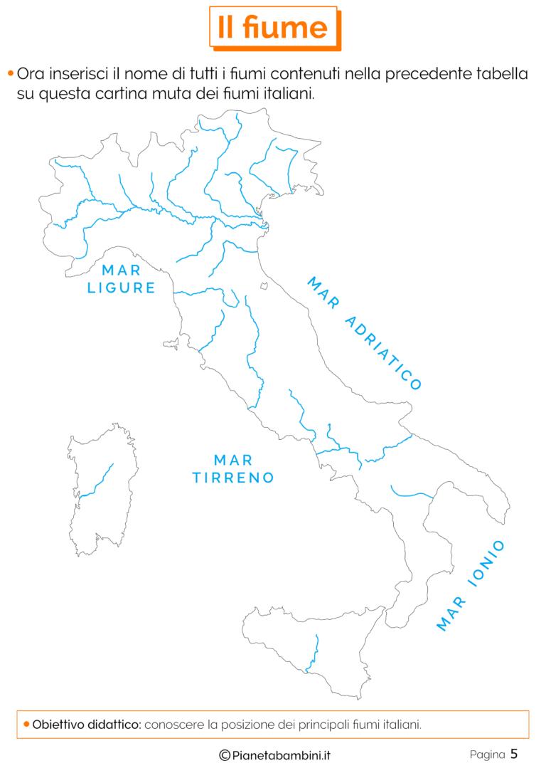 Cartina Italia Fiumi.Il Fiume Schede Didattiche Per La Scuola Primaria Schede