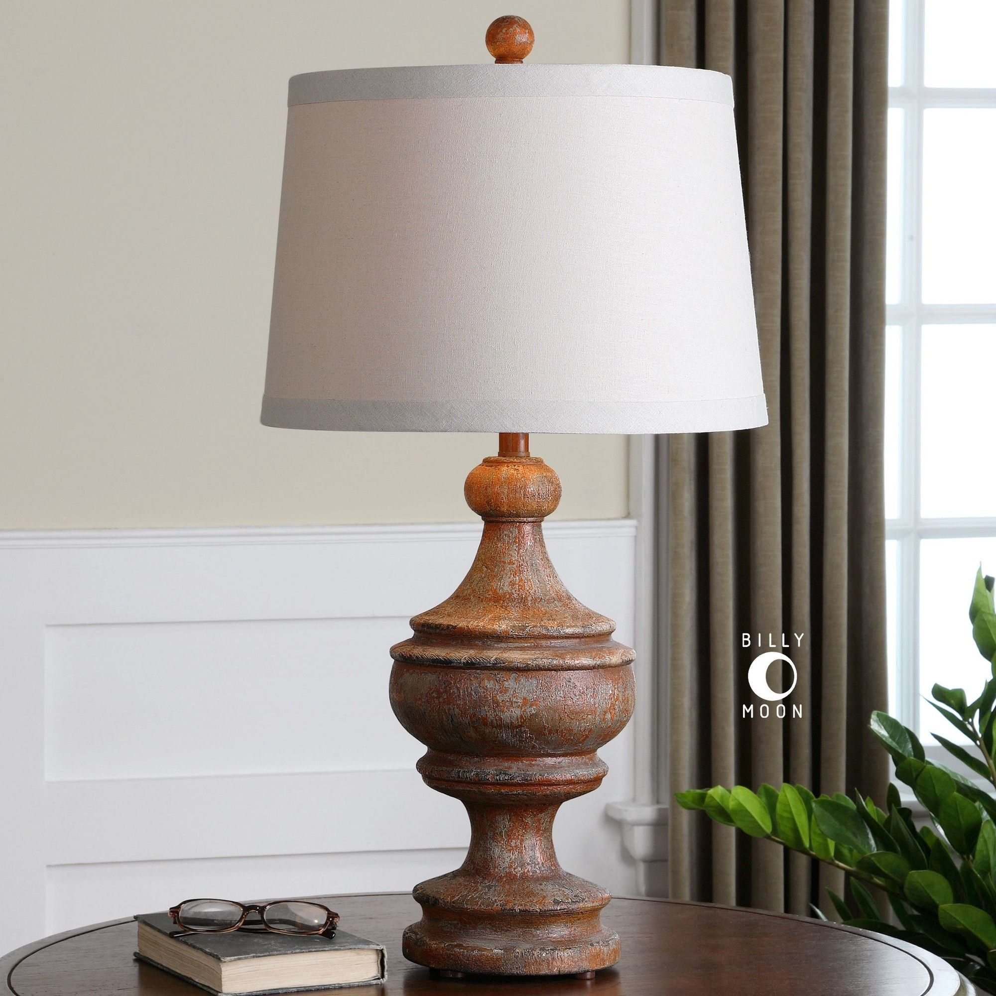 Uttermost Via Lata Solid Wood Table Lamp Base Finished In A Heavily Distressed Hand Painted Burnt Orange With Black Accents