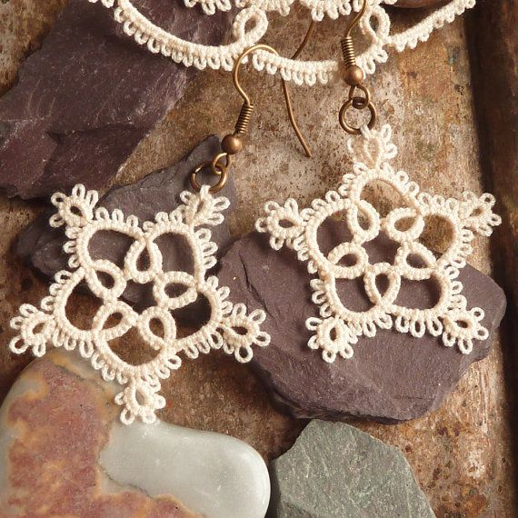 SALE 20 off Tatting jewelry tatted lace earrings by Decoromana, $19.00