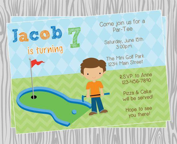 diy boy mini golf birthday party invitation coordinating items