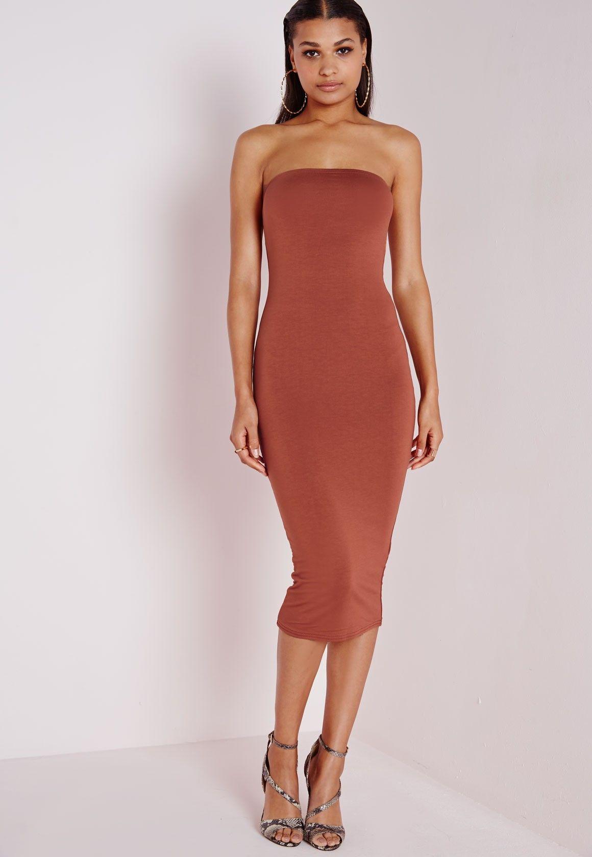 Missguided Dresses Rust Dress Midi Bandeau Jersey 4qTZvv