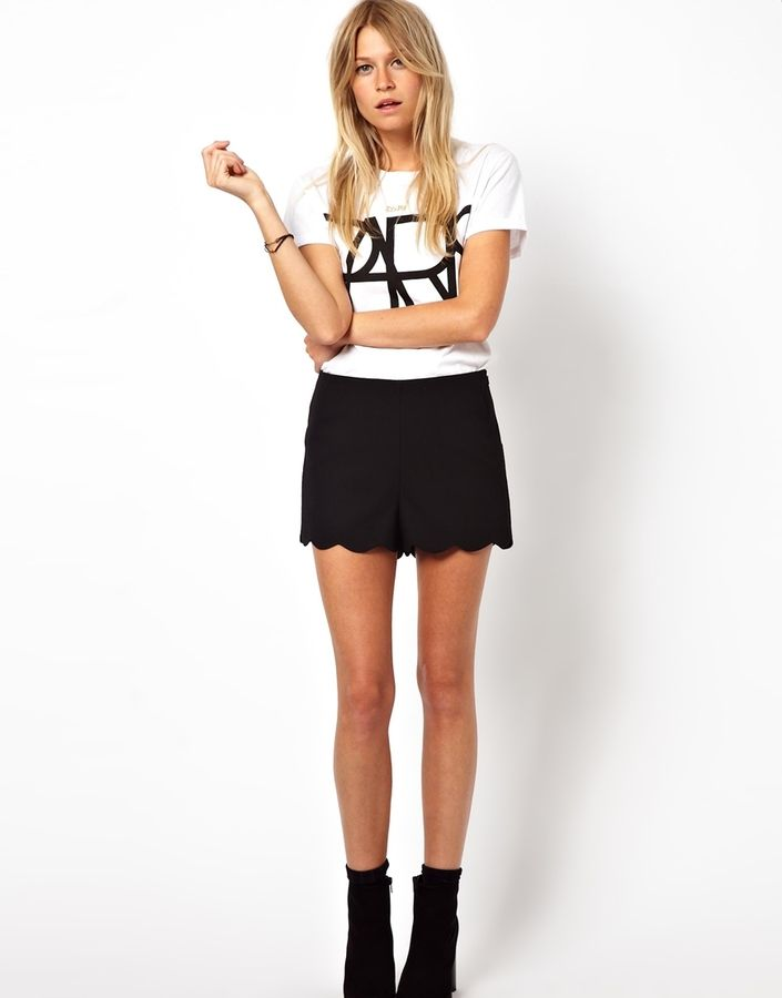 Asos Shorts with Scallop Hem on shopstyle.com