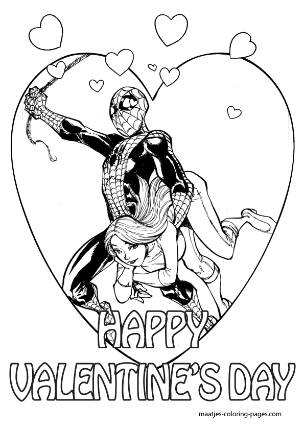 Valentine\'s Day Coloring Pages | ... in the sky. Spidey, Peter ...