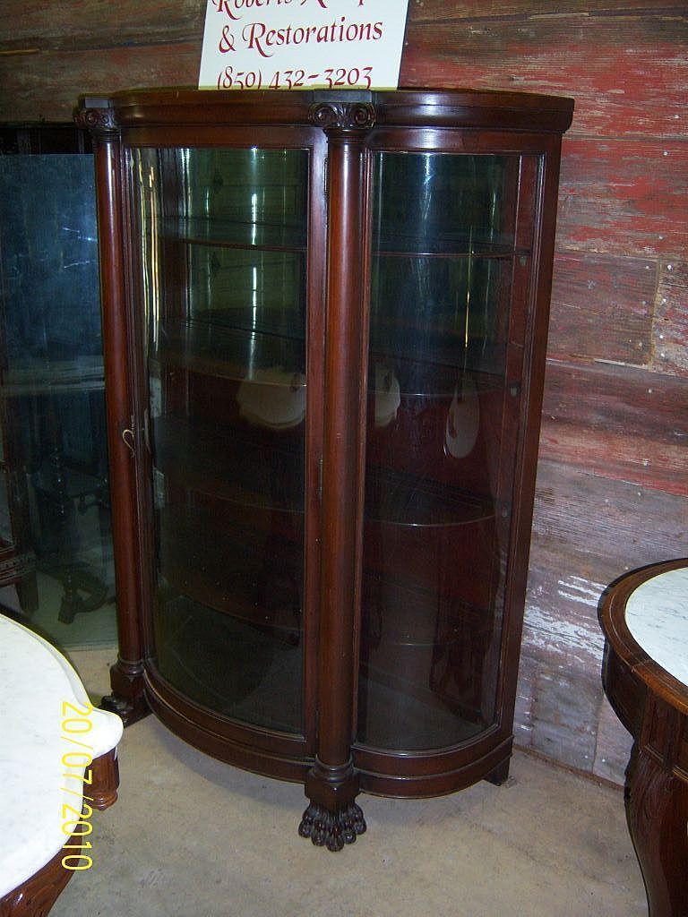 Mahogany Claw Footed Curved Glass China Cabinet - Mahogany Claw Footed Curved Glass China Cabinet China Closet