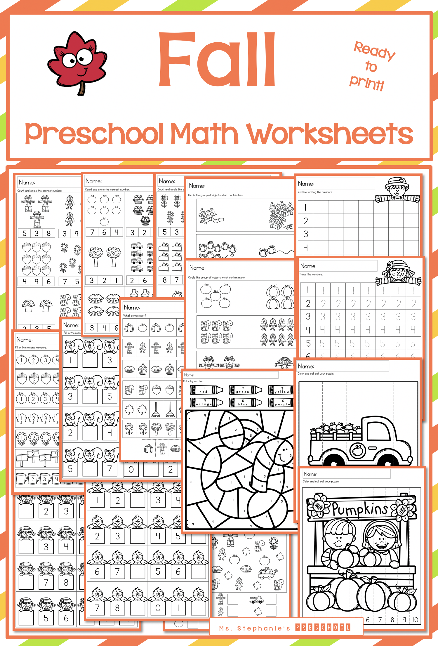 Fall Math Worksheets In