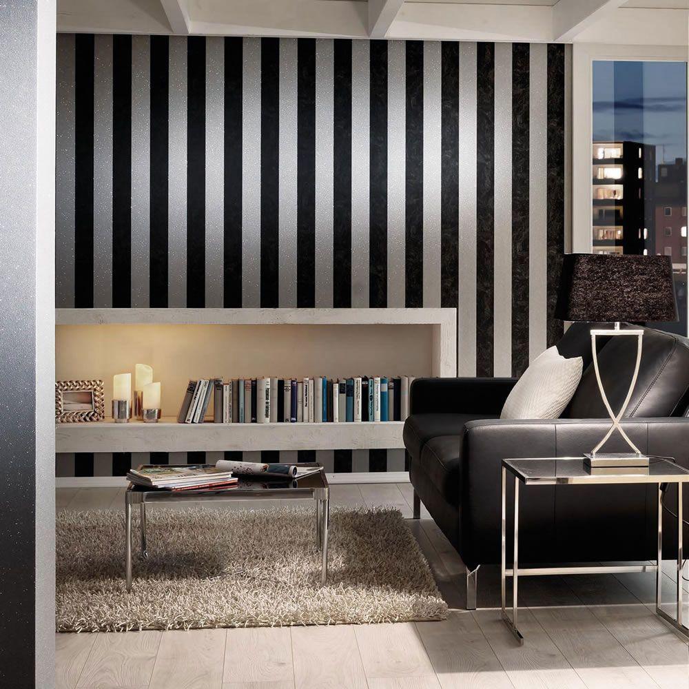 This Beautiful Glitter Stripe Wallpaper Features A Wide Vertical Silver Glitter Stripe Design T Striped Wallpaper Striped Wallpaper Black Wallpaper Walls Decor