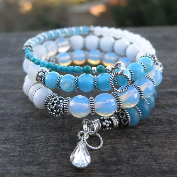 Moonstone Sterling Silver Memory Wire Bracelet Jewelry