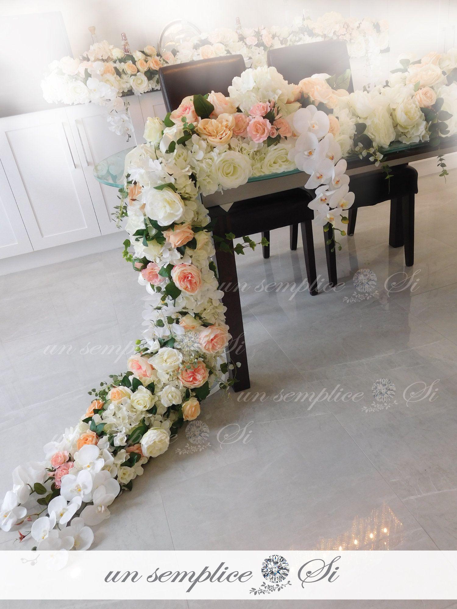 White Orchid Flower Canopy Silk Flower Garland Hanging Etsy Flower Runner Wedding Flower Runner Flower Garlands