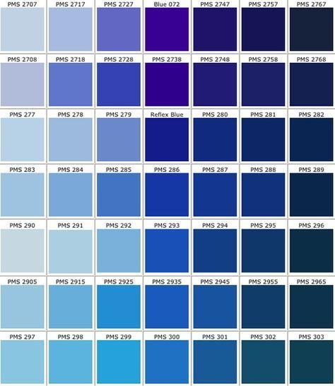 Farbpaletten Blau: Pantone Blau, Farbpalette Blau