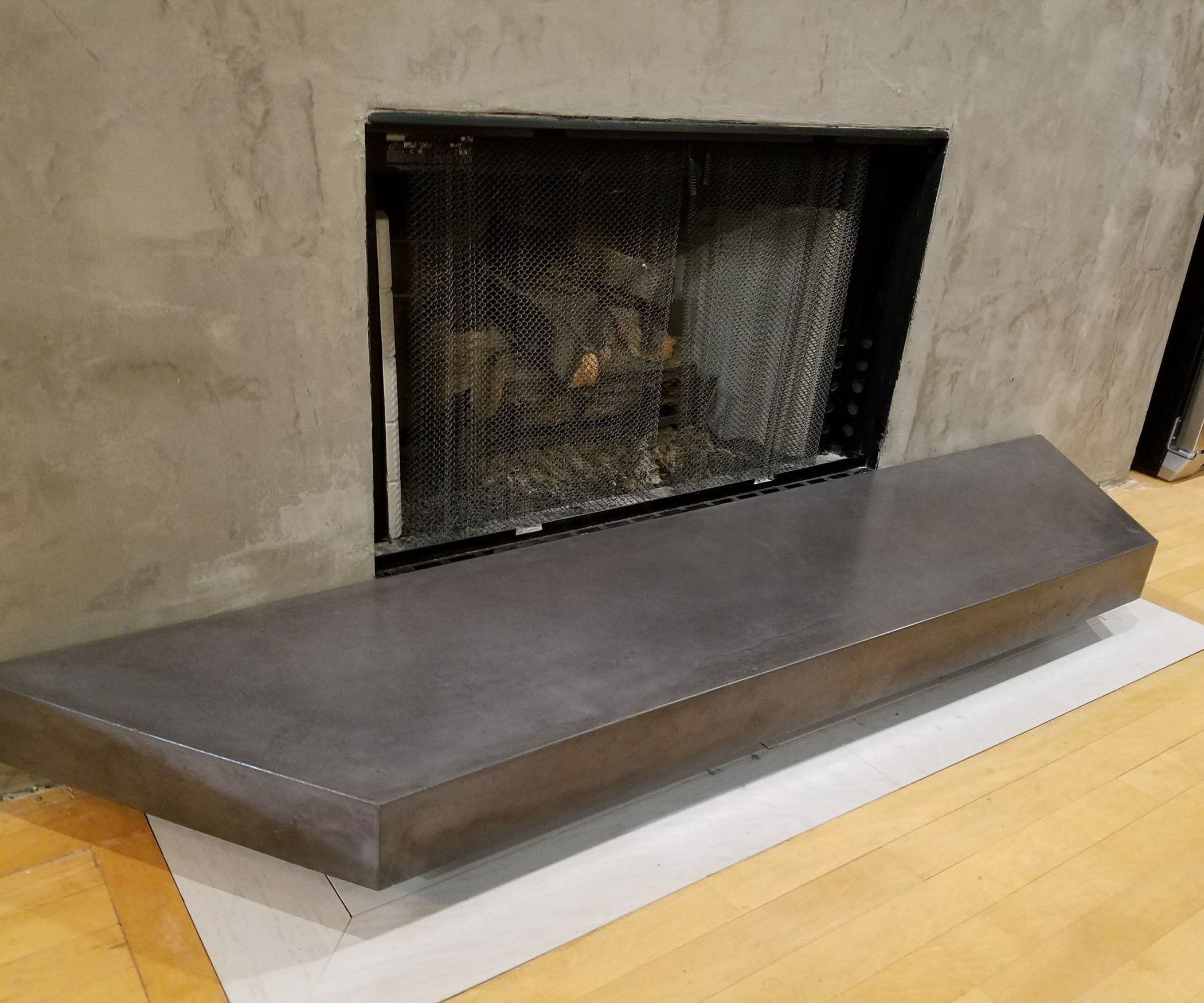 GFRC Floating Concrete Hearth for Concrete & Wood Fireplace ...