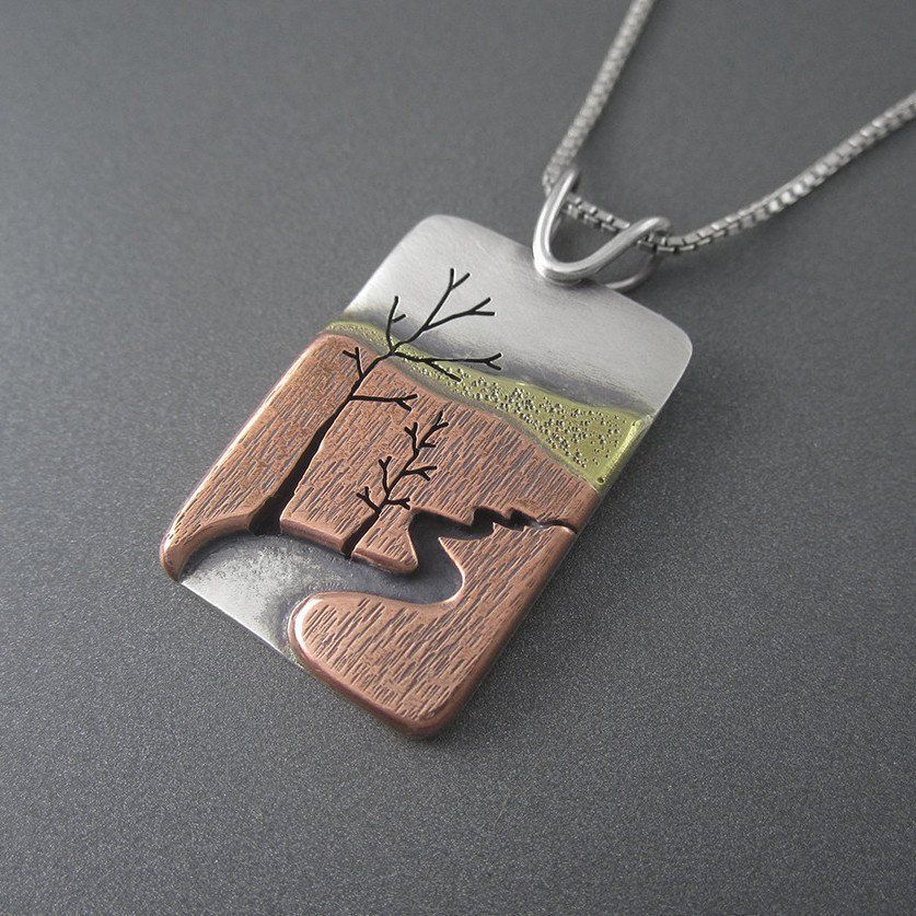 Meandering autrain river pendant rivers metals and pendants meandering autrain river mixed metal pendant beth millner jewelry 1 audiocablefo