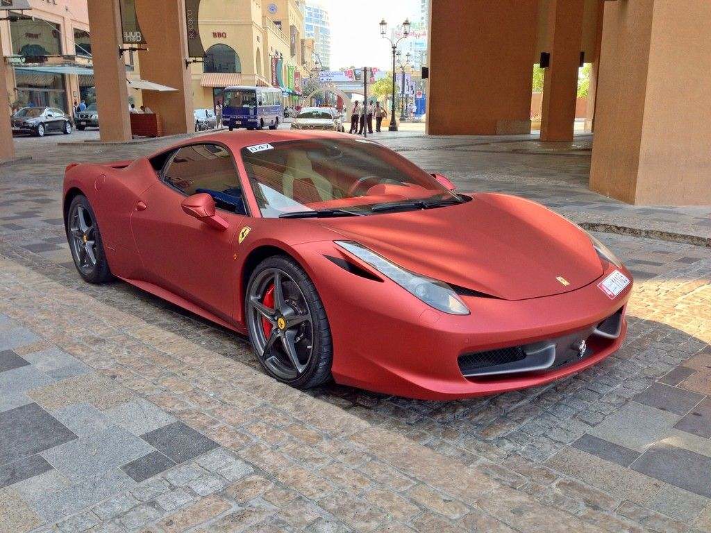 Matte Red Ferrari 458 With Images Sports Cars Luxury Ferrari