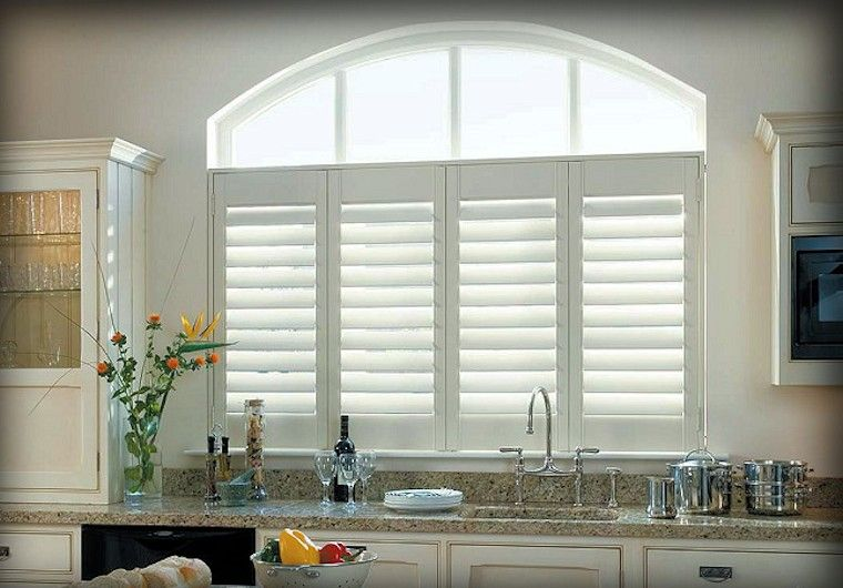 Cafe Style Plantation Shutters For Over Kitchen Sink