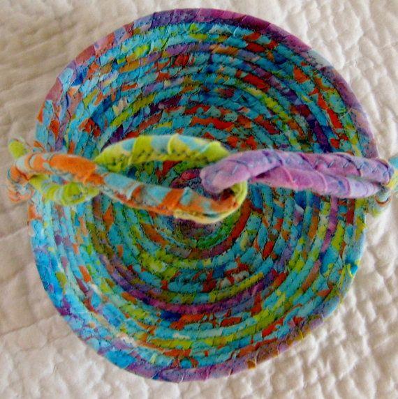 Coiled Rag Rug Instructions: Batik Basket Fabric Coiled - Easter Basket