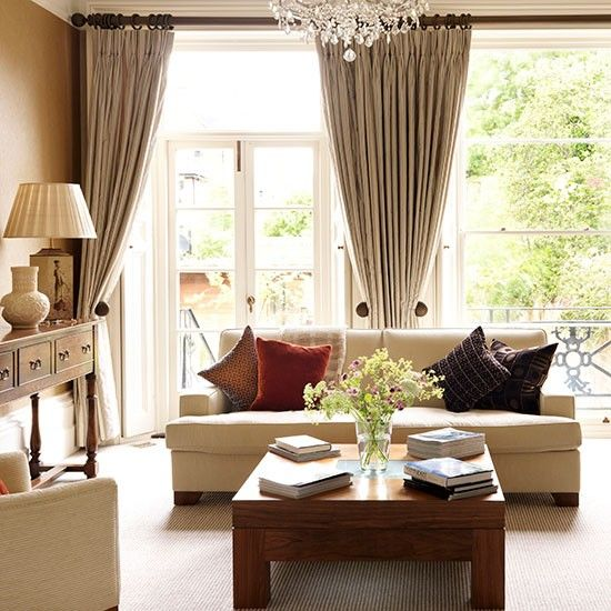 Discover The Interior Design Potential Of Curtains Ideal Home Neutral Living Room Home Home Living Room