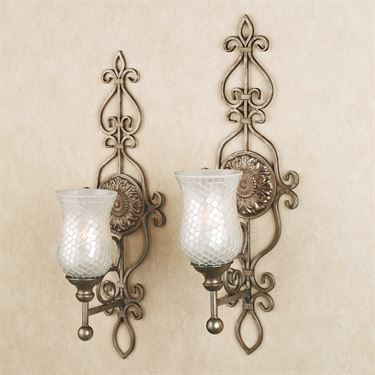 Leyanna Mosaic Wall Sconce Pair Candle Wall Sconces Large