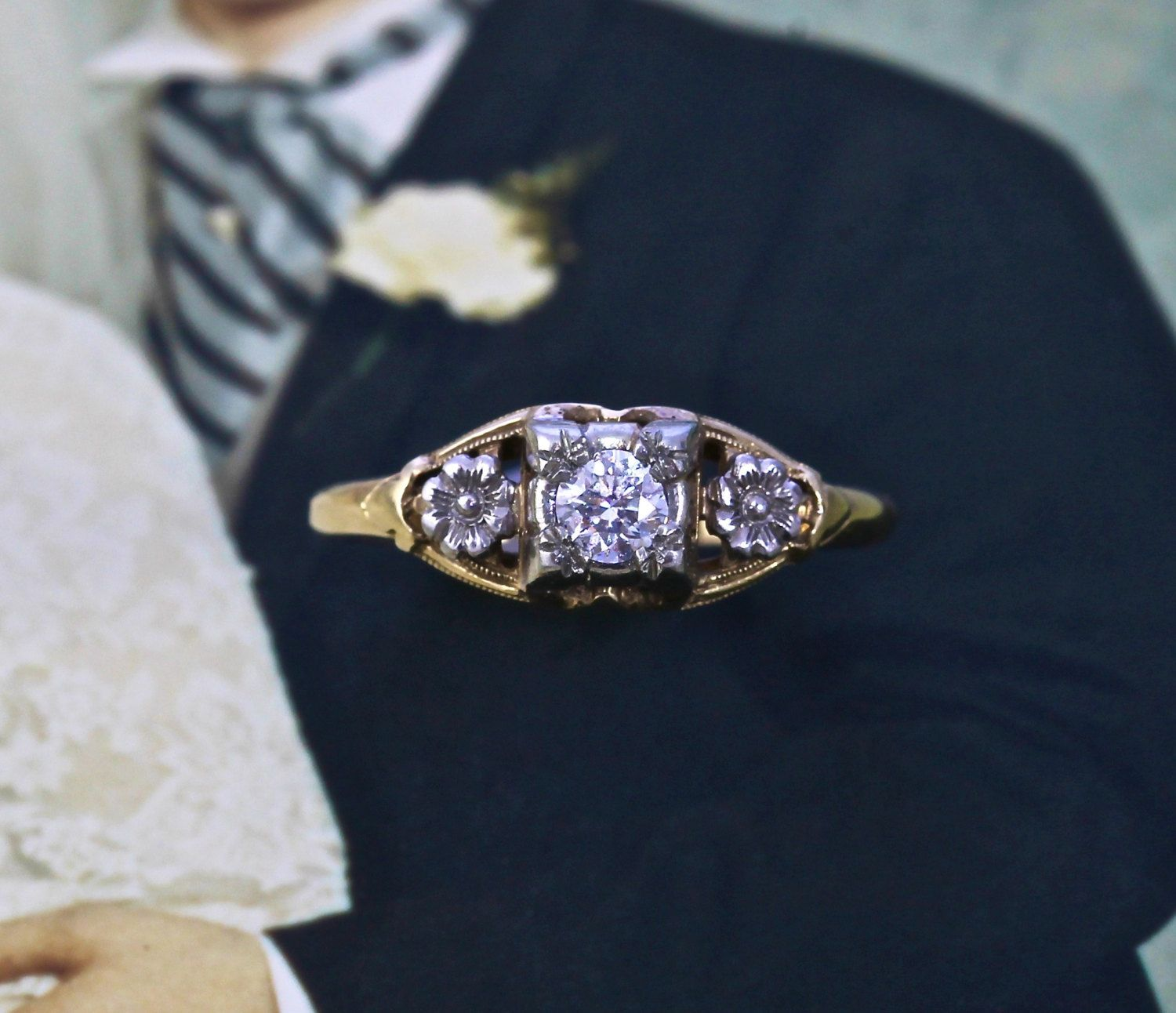 Vintage Diamond Engagement Ring, 14k Carved Dogwood Blossom Flowers, Full Cut VS Clarity F Color, Yellow and White Gold, Circa 1935 Bride by TheEdenCollective on Etsy https://www.etsy.com/listing/190626804/vintage-diamond-engagement-ring-14k