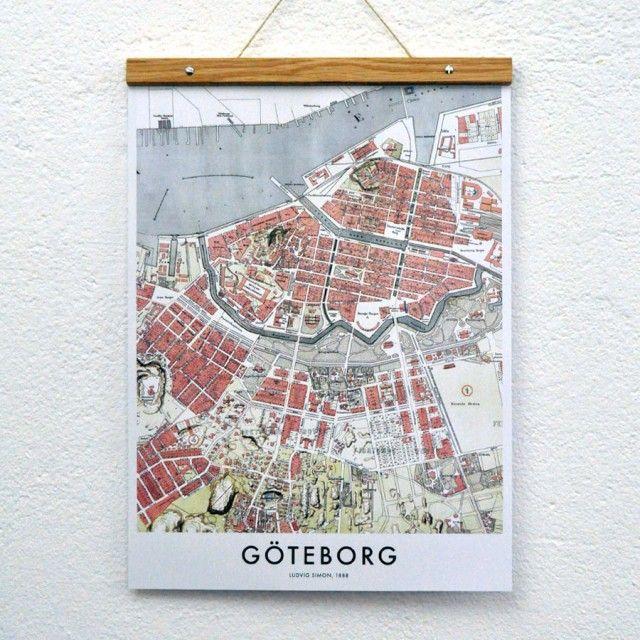 Goteborg Karta Poster No 2 30x40 Cm Tavlor Posters