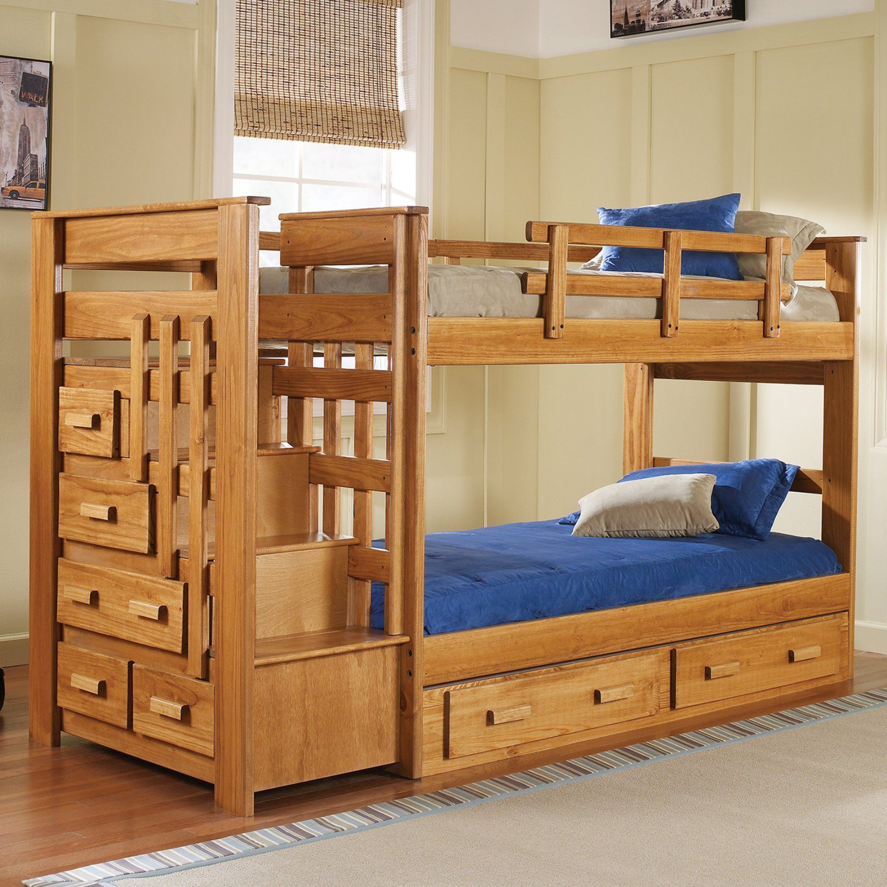 Woodcrest Heartland Twin Over Twin Stairway Bunk Bed Honey