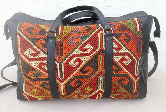 Vintage Handwoven Large Turkish Handmade Leather Kilim