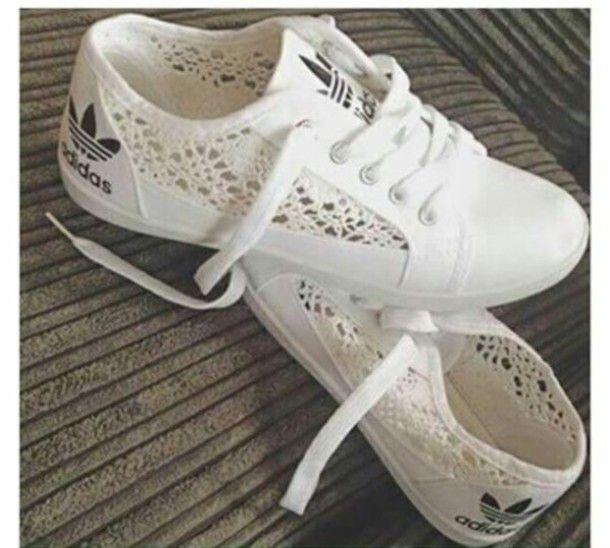 5c41eb1695b shoes white adidas white shoes lace adidas shoes adidas lace shoes sneakers trainers  white lace adidas girly