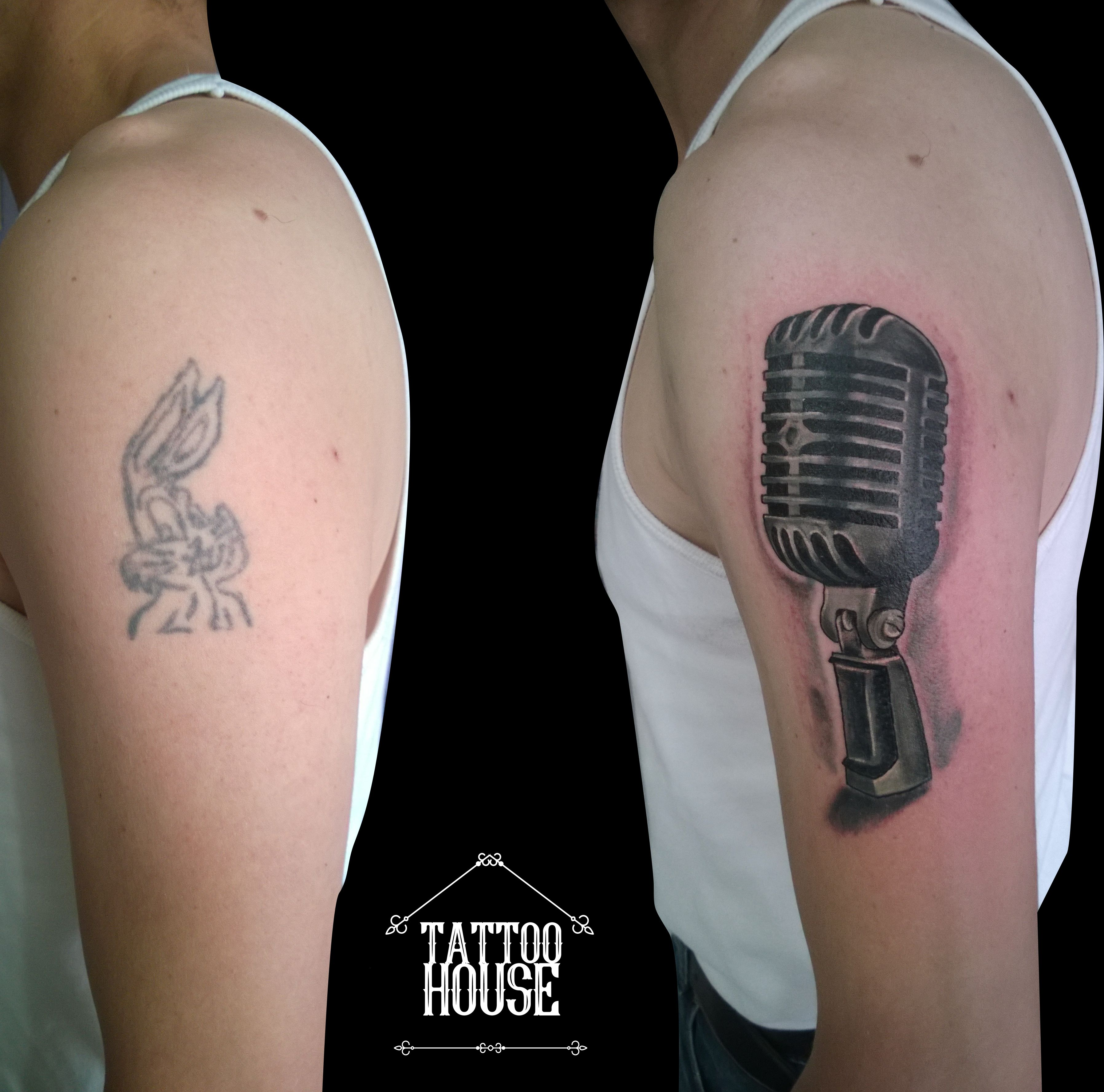 Cover Up Vintage Microphone Tattoo Alejo Loaiza