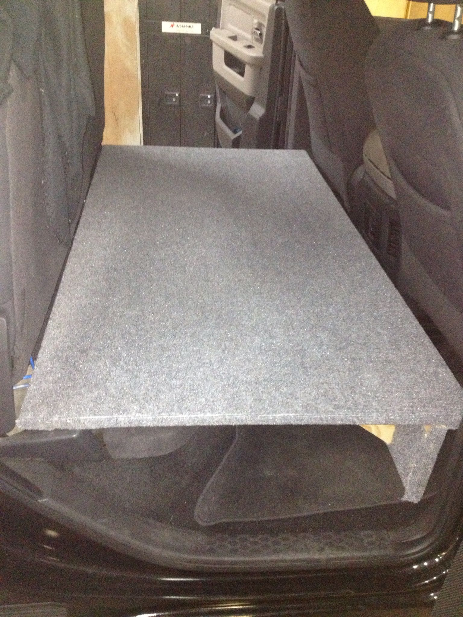 Dog Seat Bed In Back Of Truck Rear Seats Folded Up And Built A Platform For Out Lab To Be Comfortable Truck Accessories Dog Car Accessories Trucks