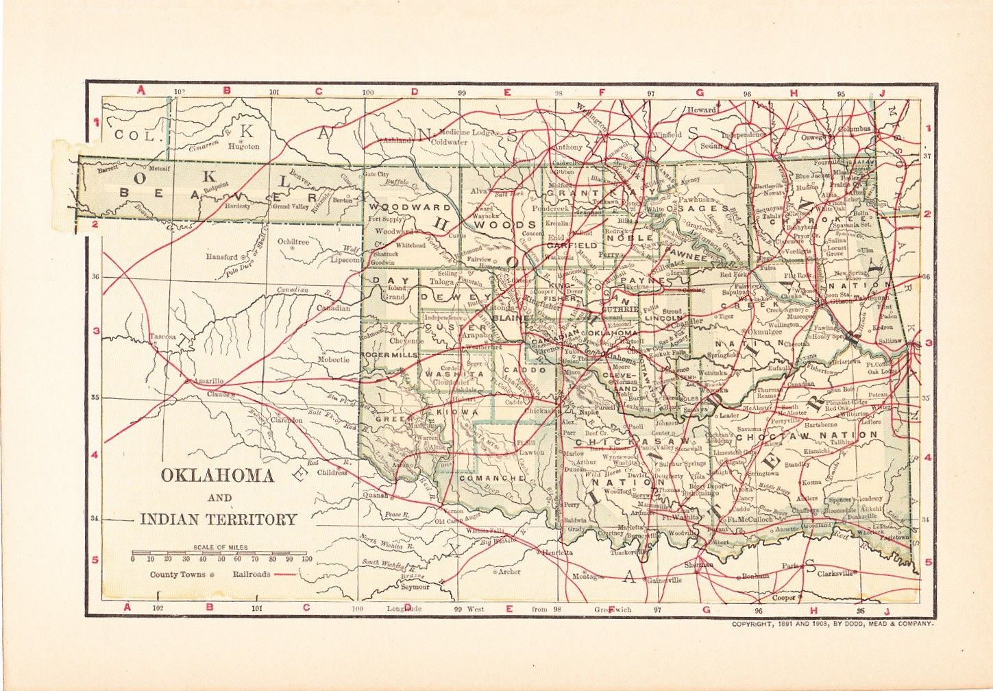 1903 State Map Oklahoma and Indian Territory Vintage Antique Map