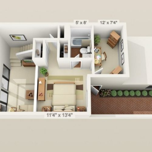 500 Sq Ft 3d Small House Plans Under 1000 Floor Small House Plans House Plans Small House Design