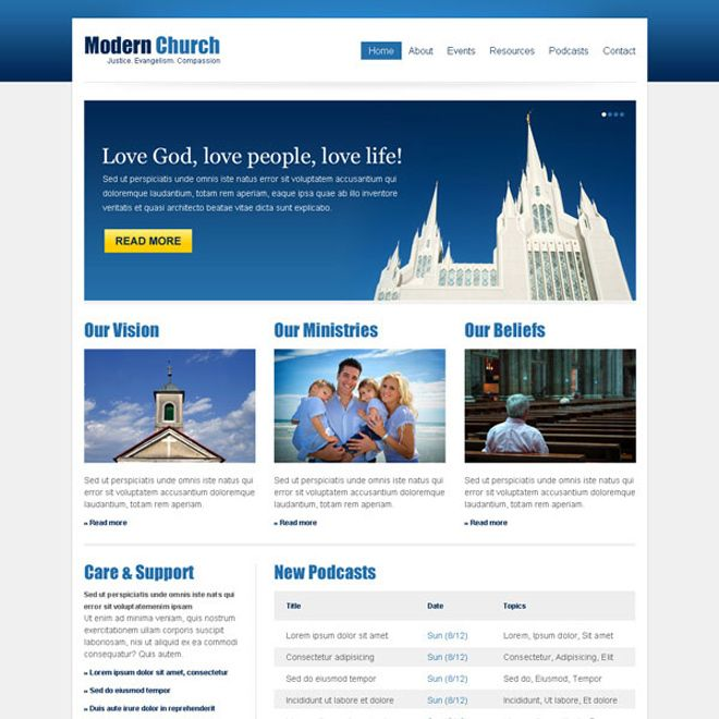 Clean And Effective Church Website Template Design Psd At Affordable - Church website templates