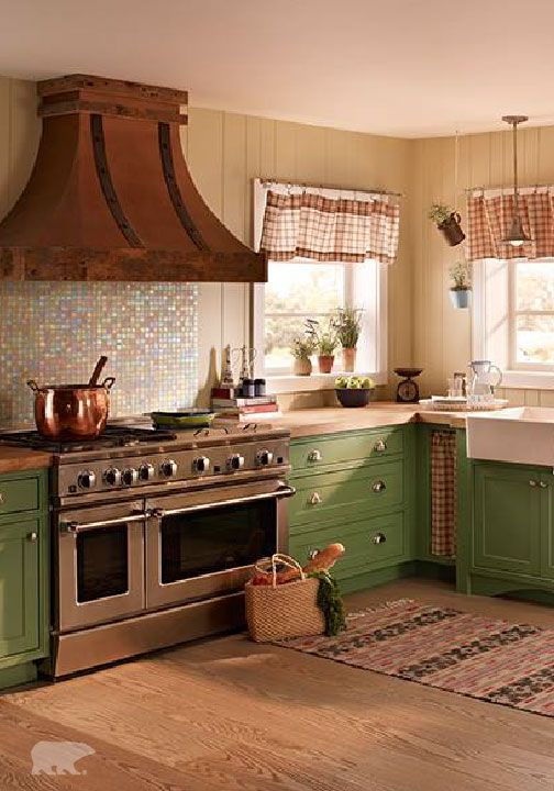 For a trendy cottage kitchen, pair together a subtle ...