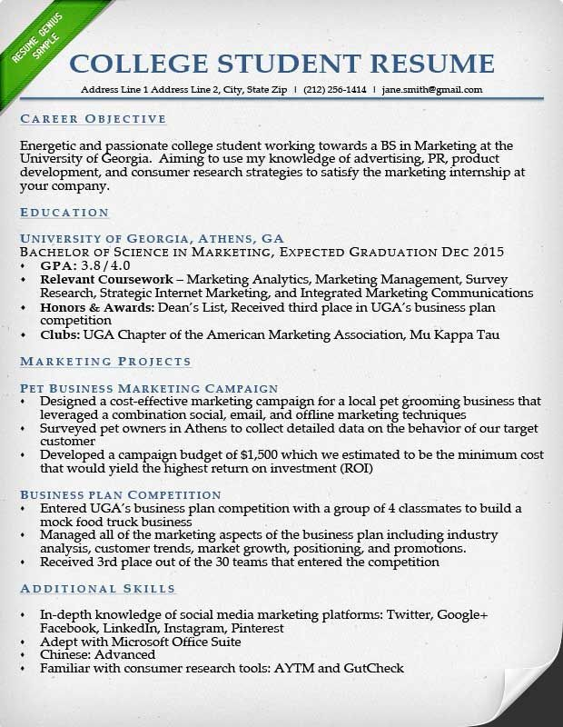 For College Students Internship Resume Student Resume Template Cover Letter For Resume