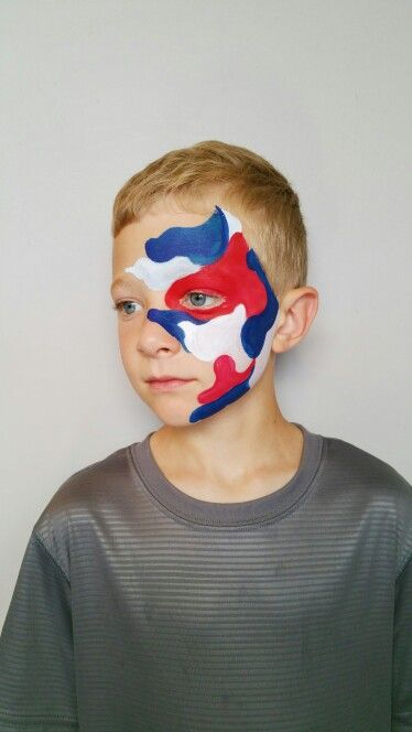 Red White And Blue Camo Facepaint By Fanciful Facepainting Love How