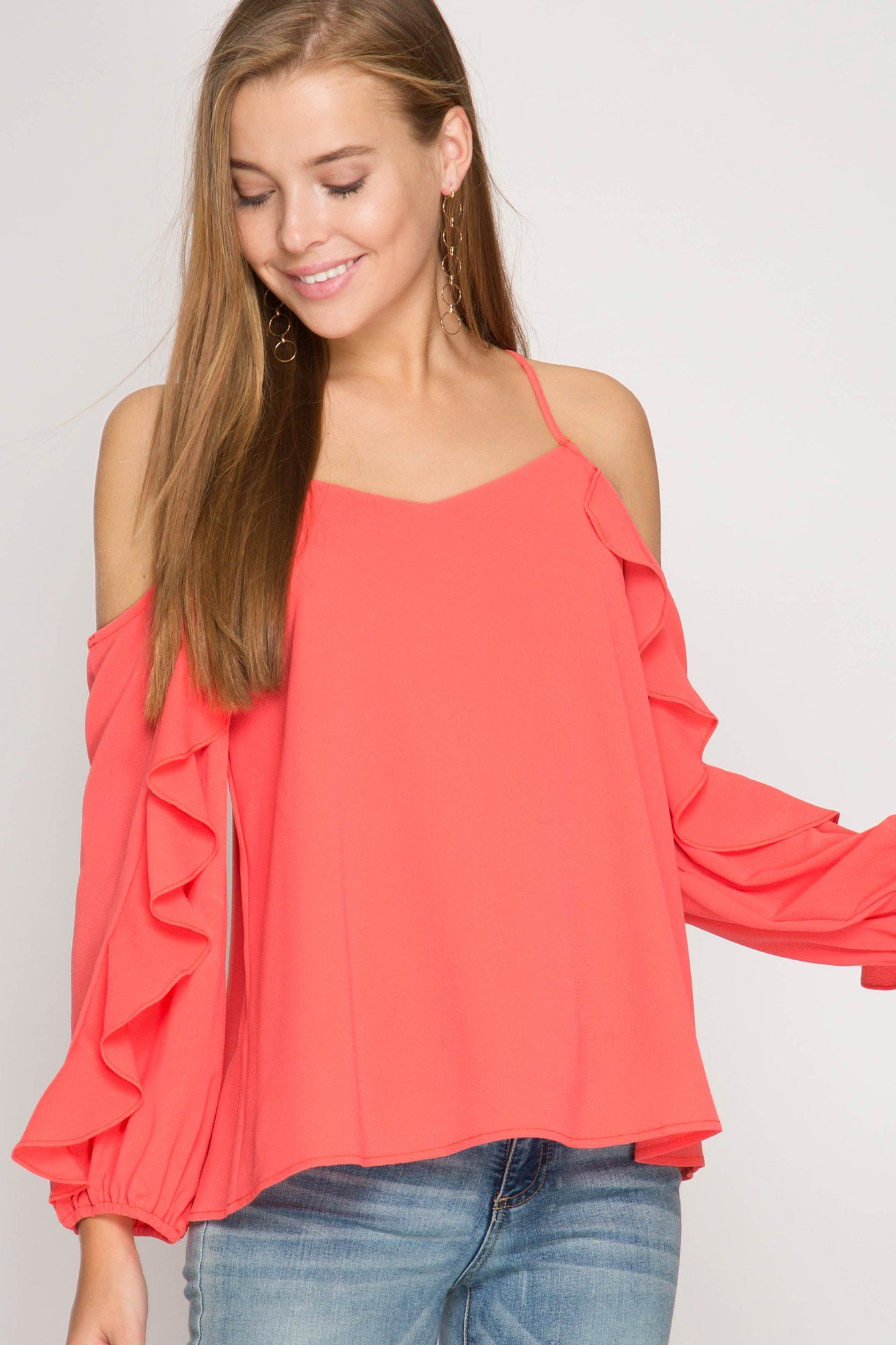 Long Sleeve Cold Shoulder Top with Ruffled Sleeve in Coral