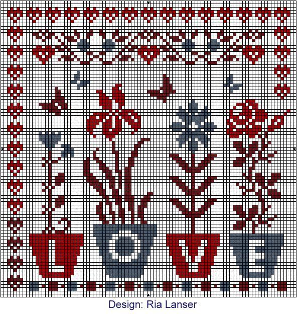Love flowers cross stitch Design: Ria Lanser