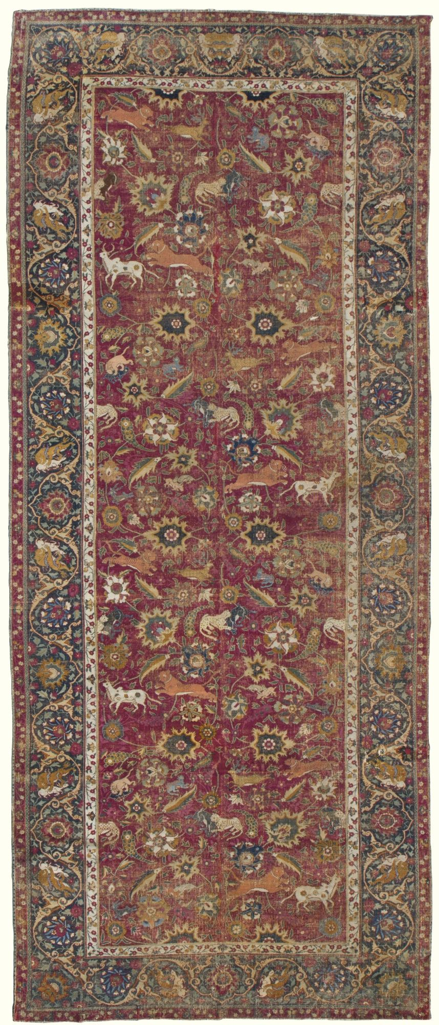 The Yerkes Remarque Mughal Hunting Carpet India Approximately 473 By 200cm 15ft 6in 6ft 7in First Half 17th Centur Carpet Rugs On Carpet Carpet Fabric
