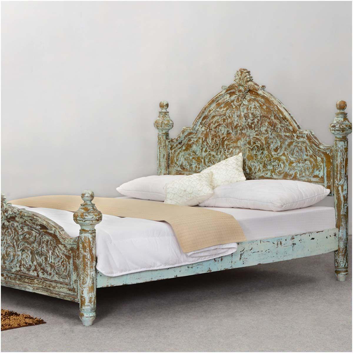 Victorian Winter White Mango Wood Platform Bed Frame w