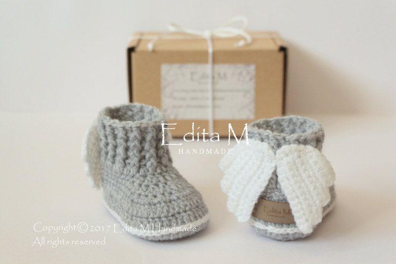 Crochet baby booties, unisex baby shoes, gift box, baby girl, baby ...
