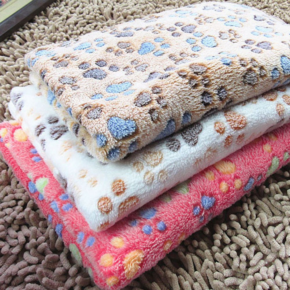 Small large puppy warm pet mat paw print cat dog fleece blanket bed
