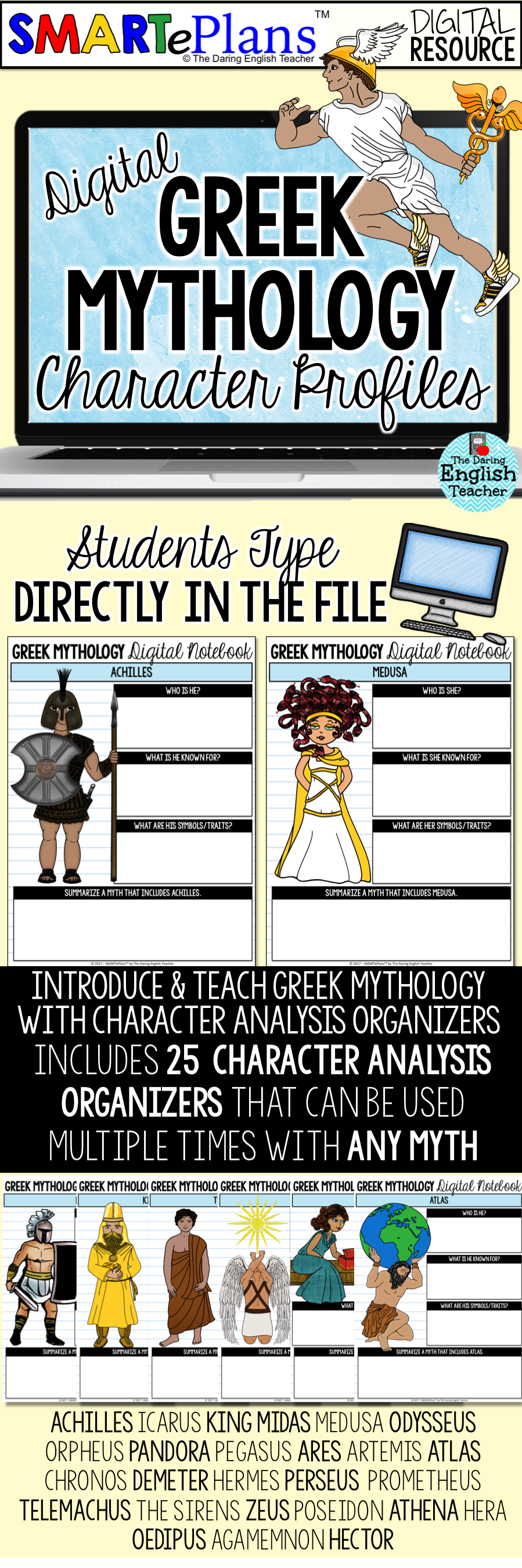 SMARTePlans Digital Greek Mythology Character Analysis Graphic Organizers