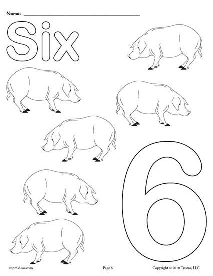 FREE Printable Animal Number Coloring Pages