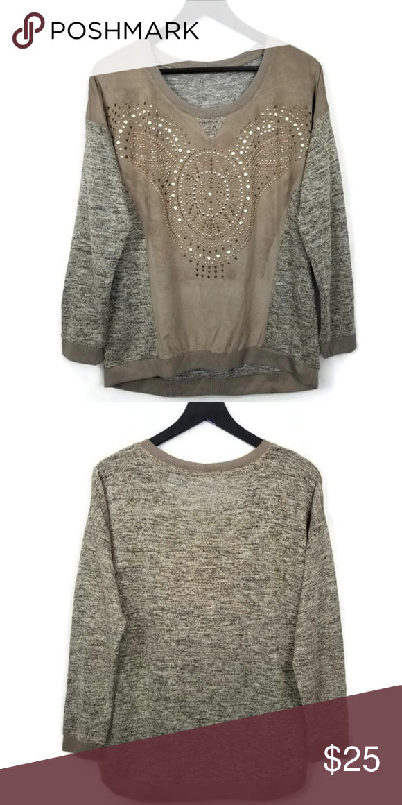 To Measurements Slight u B Sweater Color High Size L Light Bust e Studded Tan Metallic Embellished l Back Front Low Weight q46WT4Hf