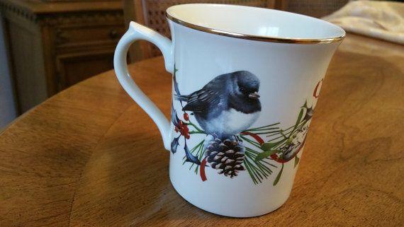 Lenox winter greetings mug cardinal coffee cup made in usa bird red lenox winter greetings mug cardinal coffee cup made in usa bird red bow with holly catherine mcclung gold trim china coffee cup elegant m4hsunfo
