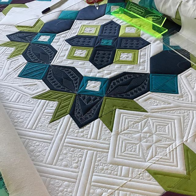 Looking forward to being back in my studio today and working on my #gypsyquilt - this is going to take a while, but it's definitely going to be worth it. #judimadsen #a1quiltingmachines #filtecglide60thread #hobbsbatting