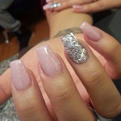 Pale Pink With Silver Glitter Gel Nails Sparkly Acrylic Nails Glitter Gel Nails Nails