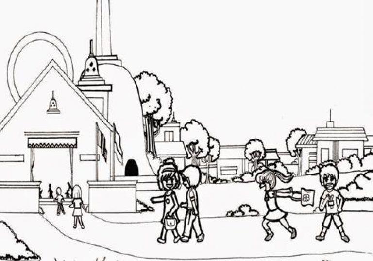 Gambar Mewarnai Vihara Di 2020 Dengan Gambar Gambar Kartun Warna