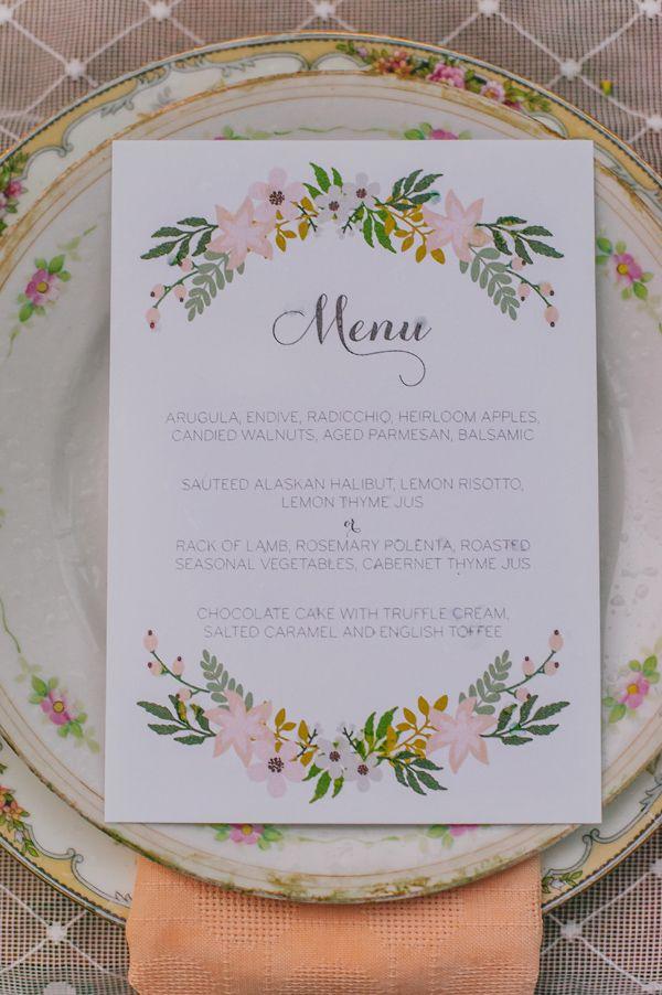 Menu Boho #caligrafia #weddingpaper #flowerpower