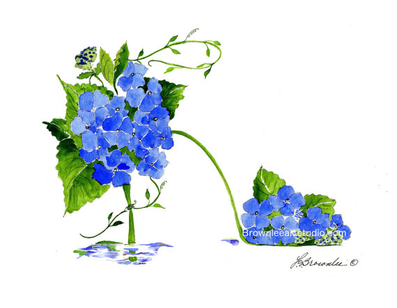 Bleu Hortensia Vigne Fleur Chaussure Print Rehausse D