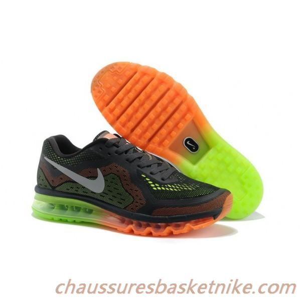 Nike Air Max 2014 Gradient Chaussures Hommes en Noir Orange Vert Herbe